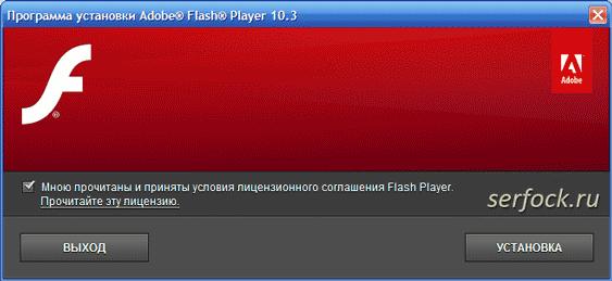 Согласие от лицензией Adobe Flash Player